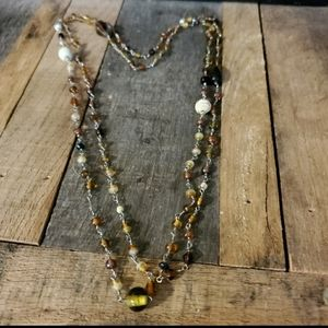 Brown Beaded Double Wrap Necklace